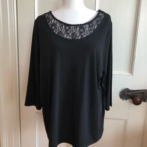 Catherine's Blouse Size 0X 14 16 Black Top Flowy